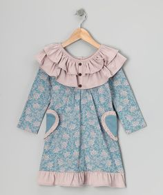 Take a look at this Blue Fan Floral Heart Organic Dress - Infant, Toddler & Girls by violet + moss Girls on #zulily today!