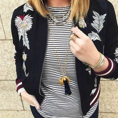 Double the fun with mixed patterns and mixed necklaces! stelladotstyle by @lizurso