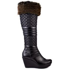 Bundle up in this Guess boot and show the snow just how unstoppable you really are.  Pozita 2 brings you a mix of faux leather and cozy quilted black fabric.  Imitation fur covers the ankle cuff to keep it high fashion while the 3 inch wedge and 1 inch platform give you a boost.