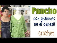 Poncho on canesú de grannies floreados tejido a crochet - Tejiendo Perú - YouTube