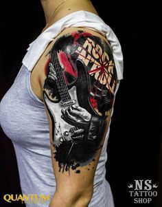 Tattoo разные на плече - tattoo's photo In the style Trash polka, Differe Tattoos Musik, Neue Tattoos, Music Tattoos, Girl Tattoos, Tattoos For Guys, Guitar Tattoo Design, Music Tattoo Designs, Forearm Tattoo Design, Rock Tattoo