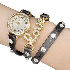 Women's White Dial LOVE PU Band Quartz Analog Wrist Watch