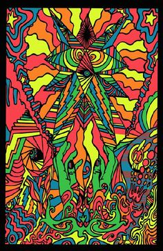 High quality reprinted psychedelic art print poster titled In My Room from 1969. Art by Gary Edwards. 11 x 17 high quality reproduction on card stock.