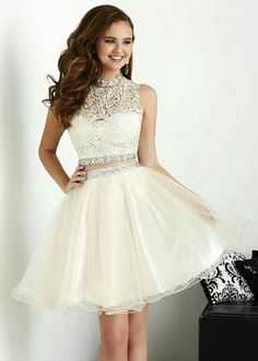 Prom Dresses For Teens, White Homecoming Dresses,Tulle Homecoming Pieces Prom Gown,Two Piece Cocktail Dresses,Lace Sweet 16 Gowns Short prom dresses and high-low prom dresses are a flirty and fun prom dress option. Dama Dresses, Quince Dresses, Hoco Dresses, Dresses For Teens, Formal Dresses, Party Dresses, Wedding Dresses, Dresses 2016, White Quinceanera Dresses