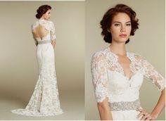 Vintage Mermaid Wedding Dress Lace Trumpet Brush Train Bridal Gown Custom New