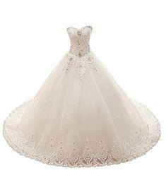 53b480f6 Emmani Womens Sweetheart Lace Beaded Bling Trailing Bridal Wedding Dresses  Ball Gown 2 White **