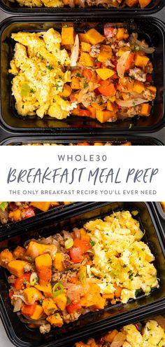 Whole 30 Breakfast, Eggs And Sweet Potato, Sweet Potato Breakfast Hash, Breakfast Bowls, Sausage Breakfast, Breakfast With Sweet Potatoes, Meals With Sweet Potatoes, Breakfast Ideas With Eggs, Meal Prep Breakfast