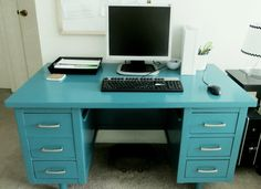 DIY painted Vintage Wood Tanker Desk paint makeover to teal and silver home office workspace MCM The Decor Guru