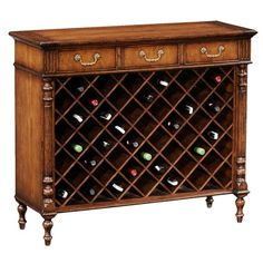 Antiqued Walnut Wine Cabinet.