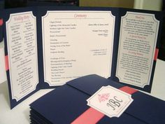 Elegant Gate-fold Wedding Program **shown in textured navy with pink satin ribbon**-- this would work in black and hot pink I think.timely but cute! Wedding Paper, Wedding Vows, Wedding Cards, Diy Wedding, Dream Wedding, Wedding Ideas, Wedding Things, Wedding Stuff, Ceremony Programs