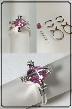 The Cross Division Ring. Pink CubicZirconia Silver NostaLics