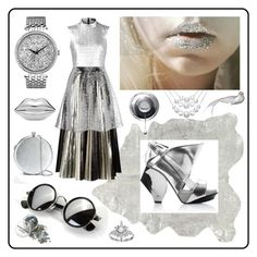 """""""metal city"""" by beanpod ❤ liked on Polyvore featuring Mina Victory, Proenza Schouler, Markus Lupfer, Abcense, Caravelle by Bulova, Lulu Guinness, Alexander McQueen and Lene Bjerre"""