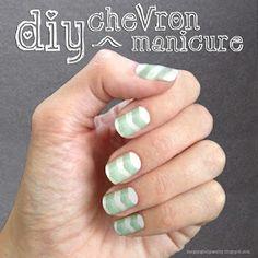 Chevron manicure, mint and white DIY nail art