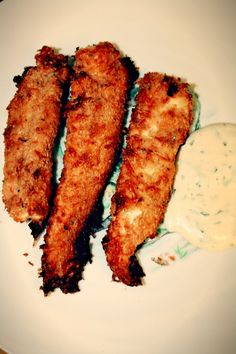 Grown-up fish sticks...sockeye salmon covered with parmesan and bread crumbs, baked til crispy. Recipe via Giada de Laurentiis