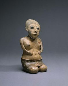 Seated Female Figure Mexico, Nayarit, San Pedro Lagunillas region, 200 B. 300 Earthenware with colored slips and resist decoration 11 ½ x 5 ¾ x 4 ½ in. Art Sculpture, Pottery Sculpture, Sculptures, African Figurines, Type E, Symbolic Art, Art Premier, Colonial Art, Spanish Colonial