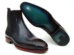Paul Parkman Men's Handmade Shoes Chelsea Navy Burgundy Boots Material: Leather Color: Navy / Burgundy Outer Sole: Leather Comes with original box and dustbag Handmade Plain Toe Chelsea Boots for Men Navy & Bordeaux hand-painted calfskin upper T Men's Shoes, Shoe Boots, Dress Shoes, Men Boots, Shoes Men, Bordeaux, Fashion Boots, Mens Fashion, Fashion Rings