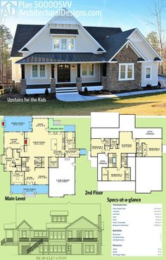 Architectural Designs House Plan 500005VV was designed to give the kids' their own floor upstairs. 4 beds in all, this Craftsman design gives you over 4,100 square feet of heated living space. Ready when you are. Where do YOU want to build? Planer, House Floor Plans, Dream House Plans, 2 Story Houses, Two Story Homes, House Architecture, Colonial Architecture, Basement Bars, 4 Bedroom House
