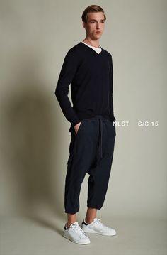 NLST l V-Neck Sweatshirt and Knit Harem #NLST #SS15 #NAVY #menswear