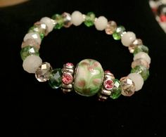 Handmade Pink, White and Green Stretch Bracelet - Unique - One of a Kind - Women - Teen - Affordable - Bracelet - Stretch Bracelet - Fashion...