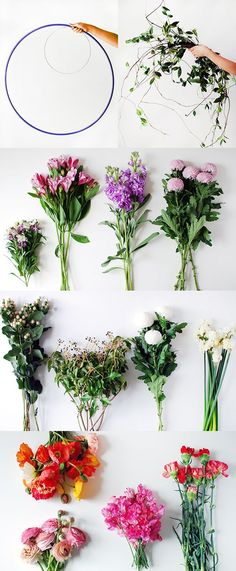 Materials to make a DIY fresh flower hanging chandelier.