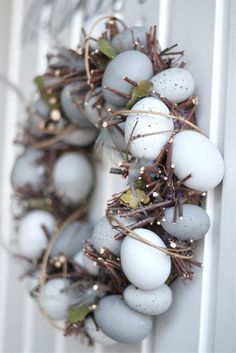 Natural, grey egg wreath for Easter//