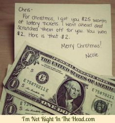 Funny pictures about Lottery tickets are the best last minute Christmas gifts. Oh, and cool pics about Lottery tickets are the best last minute Christmas gifts. Also, Lottery tickets are the best last minute Christmas gifts. Cute Gifts, Funny Gifts, Diy Gifts, Prank Gifts, Funny Secret Santa Gifts, Funny Presents, Cheap Gifts, Lottery Ticket Christmas Gift, Chisme Meme