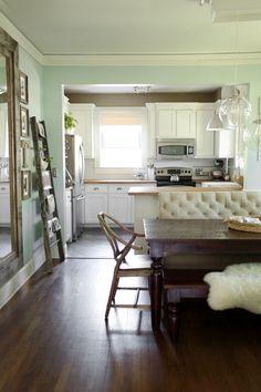 aqua, white, and wood kitchen