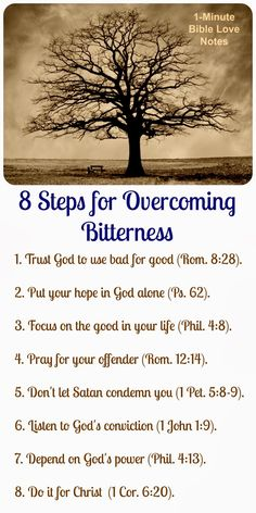 When dealing with a difficult injustice, going through this list daily will help you overcome bitterness. ~Click image and when it enlarges, click again to read this 1-minute devotion.