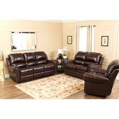 Abbyson Lexington Dark Burgundy Italian Leather Reclining Chair and Sofa Set - CH-8811-BRG-3/1, Durable