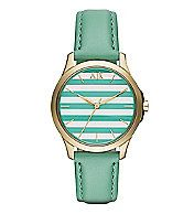 Green Stripe Leather Watch                  :                                Accessories                                              by Armani Exchange