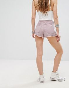 Missguided High Waist Slash Front Denim Shorts - Purple