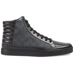 Gucci GG Supreme high-top sneaker ($520) ❤ liked on Polyvore featuring men's fashion, men's shoes, men's sneakers, black, mens black sneakers, mens black leather sneakers, gucci mens sneakers, mens leather shoes and mens black high top sneakers