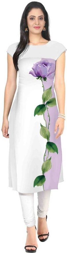 Z Hot Fashion Festive & Party Printed Women's Kurti Hand Painted Dress, Painted Clothes, Dress Painting, Fabric Painting, Fabric Paint Shirt, Fabric Paint Designs, Kurti Patterns, Girls Dresses, Dresses For Work