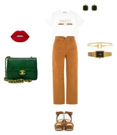 """Camel is the thing"" by toussaint-thais on Polyvore featuring mode, Gucci, MSGM, Les Néréides, Chanel, Tiffany & Co. et Miu Miu"