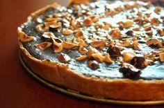 nutella tart with hazelnuts