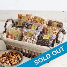 Perfect for a family or someone who loves to share, this gift features salted cashews, honey-roasted peanuts, sugar-dusted fruit gels, dark-chocolate-covered pistachios and more irresistible nuts, sweets and snacks.