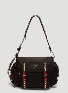 4b3630a4b1c9 Nylon Stud Shoulder Bag Miuccia Prada, Baggage, Gym Bag, Shoulder Bags,  Sacks