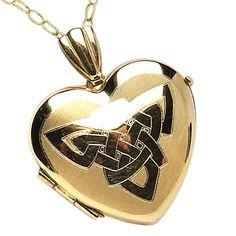 10k Yellow Gold Heart Embossed Celtic Knot Locket