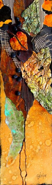 CAROL NELSON - air dry clay leaf, rusted iron paper, monoprint paper, burlap, corrugated paper, and prepared tyvek make up the components of this piece.