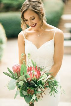 What a fun bouquet! | Charlotte wedding, Charlotte wedding vendors, blush, green, NC wedding, NC wedding vendors | Florals @flowers4wedding Entertainment @splitsecsound Beauty @poppysouthendsa Attire @JosABank + @JMajorsBridal