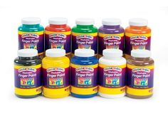 Discount School Supply - Colorations® Washable Finger Paints, 16 oz. - Set of 10