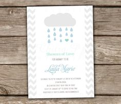 Baby Shower Invitations - Blue, Gender Neutral, DIY, Printable, Mint, Classic, Showers of Love, Boy Baby Shower, Cloud, Raindrop