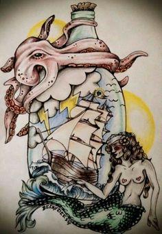 Traditional tattoo style mermaid ship in a bottle and octopus drawing by becky dee art