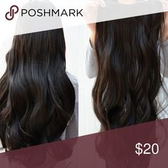 Dark Brown Hair piece Long hair. 73cm. synthetic dark brown extensions. One solid piece. Accessories Hair Accessories