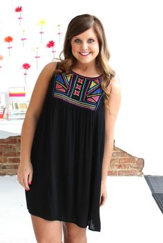 Unbreak My Heart Dress - Be boho in this black dress with embroidery detailing in the front!