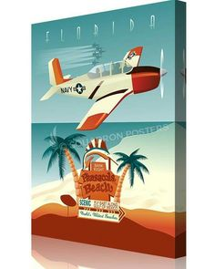"""NAS Whiting Field – T-34, Pensacola, FL """"Bank Right"""" 16 × 20 Canvas Wrap $89 http://www.squadronposters.com/product/nas-whiting-field-t-34-pensacola-fl/"""