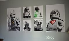 FINALLY found just want I wanted for my Lego Maniac !! Gotta love etsy ! Wall Collage Superheros 20x30 and 11x14 by PlanningWithLove, $15.00