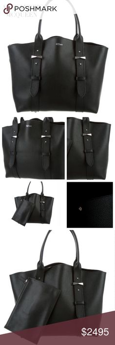 """🎉HP SALE ALEXANDER MCQUEEN BLACK LEGEND BAG Alexander McQueen Legend Black Tote Bag designed with black grained leather, tonal stitching, silver-tone hardware, suede lining, zip pouch at interior and snap closure at top. Material: Black Grain Leather (light wear that occurs naturally on leather). Hardware: Silver-tone (very light scratches) Approx. Measurements: Shoulder Strap Drop 7"""", Height 11.5"""", Depth 6"""". Includes dust bag. Alexander McQueen Bags Totes"""