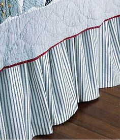 """Ticking Stripes Gathered Bed Skirt 20"""" Drop"""