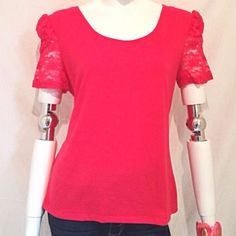 """Pink Peek A Boo Back w/Laced Short Sleeves. 🎉🎉🎉Final Price Reduction🎉🎉🎉 Pink Peek A Boo Bow Back with Laced Short Sleeves. Measurements: Armpit to Armpit 19"""", Length 24.5"""" Sleeves 8"""". Unknown Tops"""